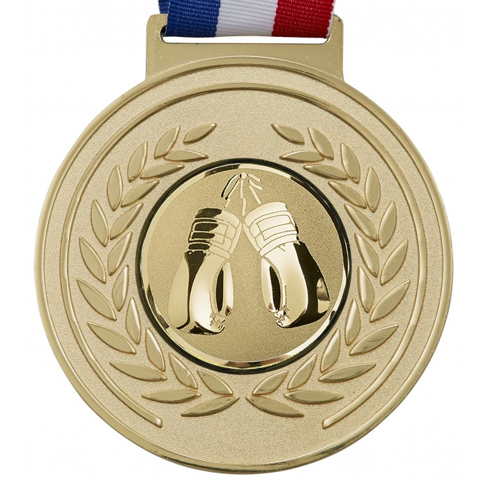 GOLD 100MM KICKBOXING MEDAL & RIBBON - OLYMPIC SIZED
